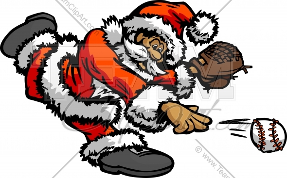 baseball christmas holiday santa claus pitching baseball cartoon vector illustration national school of baseball - Baseball Christmas