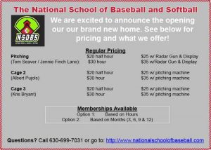 pricing at national school of baseball and softball