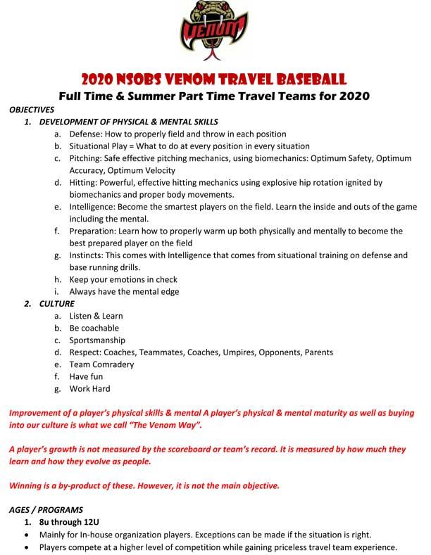 NSOBS Venom Travel Baseball 2020