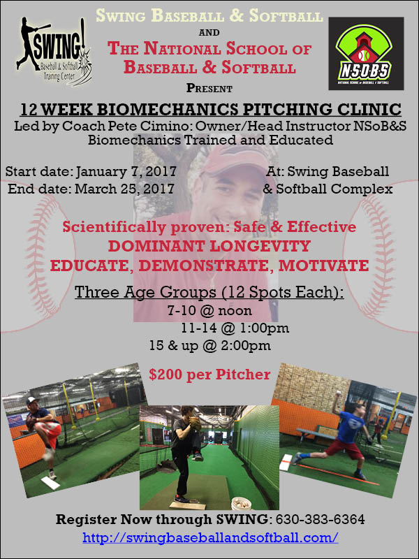 pitching clinic flyer, November 10, 2016
