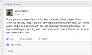 testimonial from father of Vince Curtis